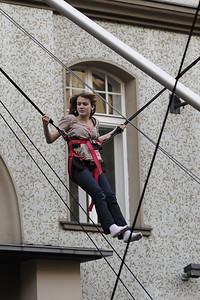 Trampoline high-jump participant