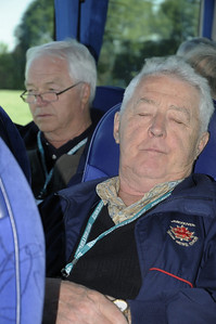Duff Graham asleep on the bus