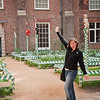 Sasha jumping into my picture of the garden in Hampton Court.