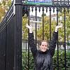 Sasha in front of Avenue des Champs Elysees near the Arc de Triumph.
