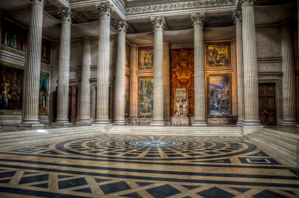 HDR photo inside the Pantheon in Paris. I really like the lighting behind the pillars in the background.