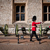 One of the Yeomen Warders marching in front of the building that houses the Crown Jewels.