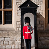 One of the guards in front of the building that houses the Crown Jewels, fully outfitted with a machine gun!