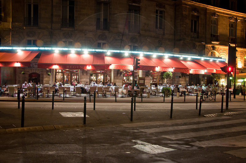 After walking around Bordeaux, we ate at this restaurant which offered a good view for people-watching and enjoying the night.