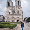 Our next stop was Paris for two days. Sasha waves hello in front of the Notre Dame Cathedral.