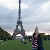 Sasha and I making a joint Eiffel Tower.