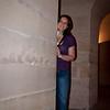 Sasha peeking around the corner of the catacombs below the Pantheon.