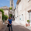 Sasha posing for a picture in St. Emilion, France.