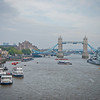 Looking down the Thames River at the Tower Bridge.