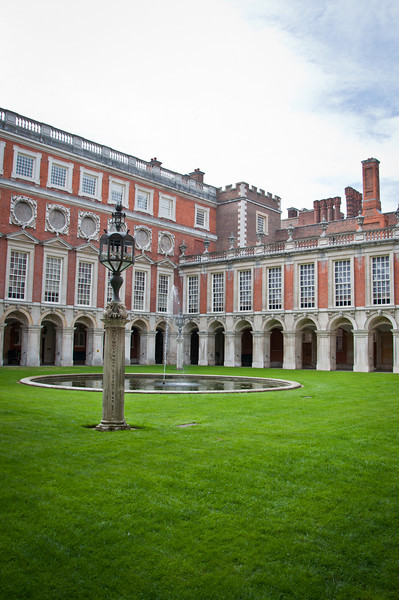 Inside a courtyard in the Hampton Court Palace.