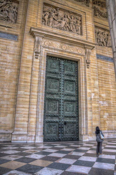 In Paris outside of the Pantheon, this green door was gigantic.