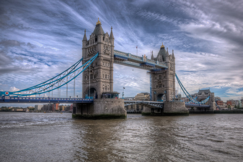 This bridge, the Tower Bridge, is just down the river from the London Bridge and is much more impressive. This is an HDR photo from just outside the London Tower in London, England.