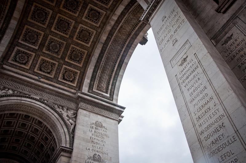 Looking up at the Arc de Triumph in Paris, France.