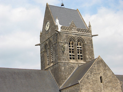 Church in Normandy where the 101st dropped in.  An airborne guy really got stuck right there