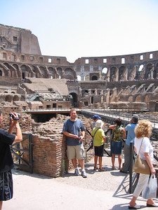 Andrew sweltering in the Colloseum