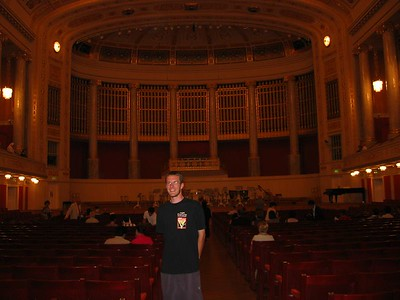 Grubby me in the concert hall, catching a concert.  I should have been thrown out.