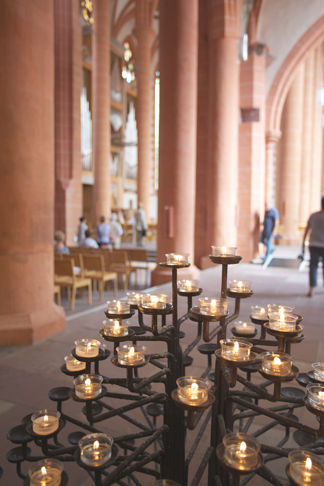 Candles inside Heidelberg cathedral.