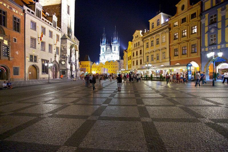 Prague at midnight on an unremarkable Tuesday night.  The city is up at all hours!