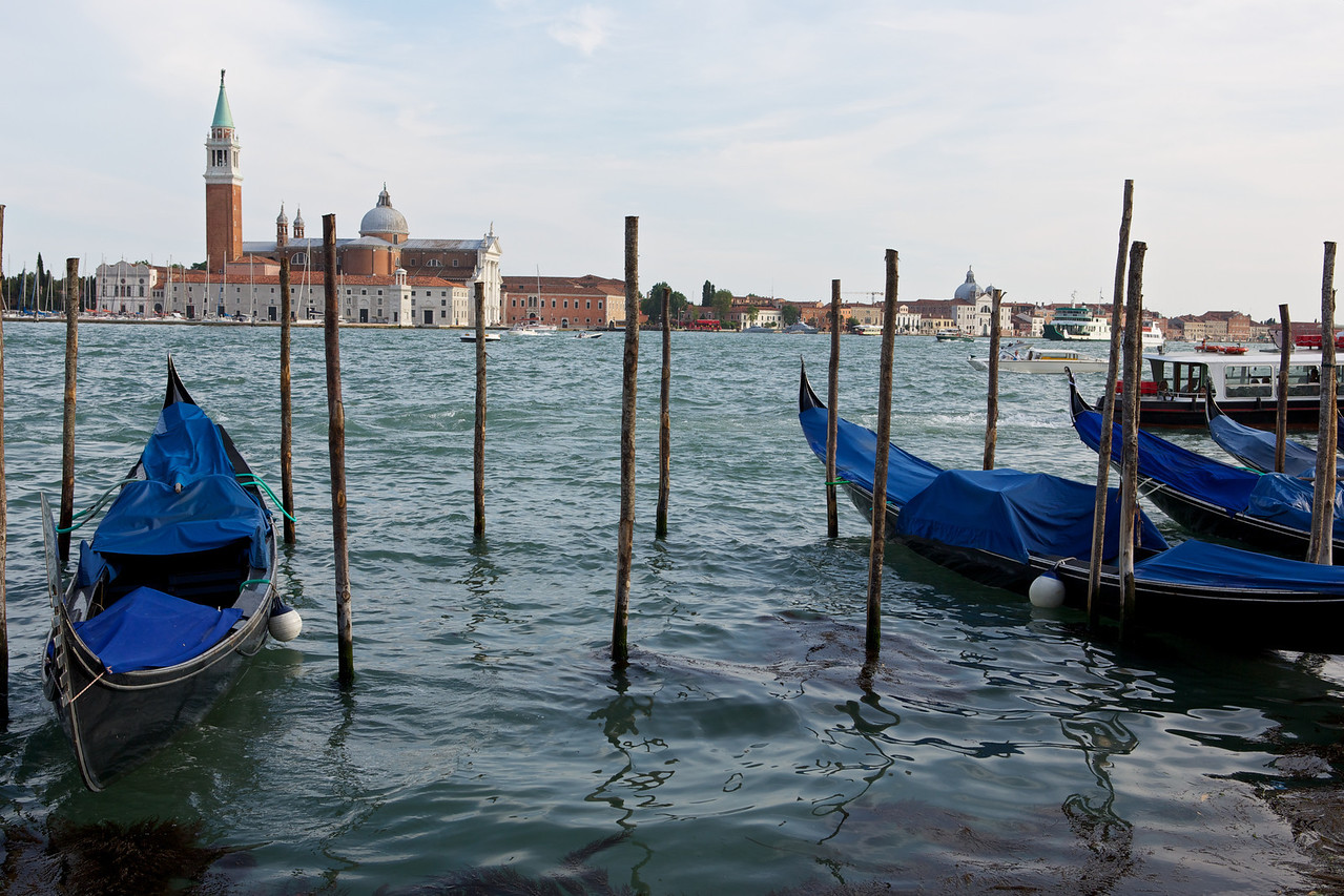 Gondolas along the Grand Canal in Venice.