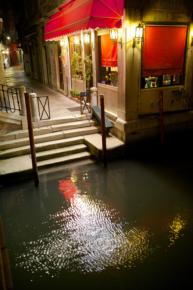 Another night shot of a restaurant in Venice.  There really were stairs into the water all over the place.