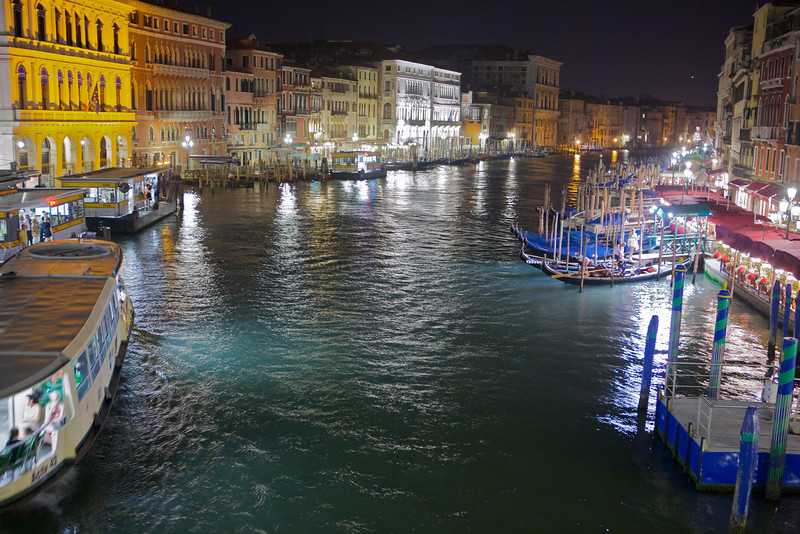 Venice's Grand Canal at night.  There were so many people on this bridge taking pictures, we had to fight for space.