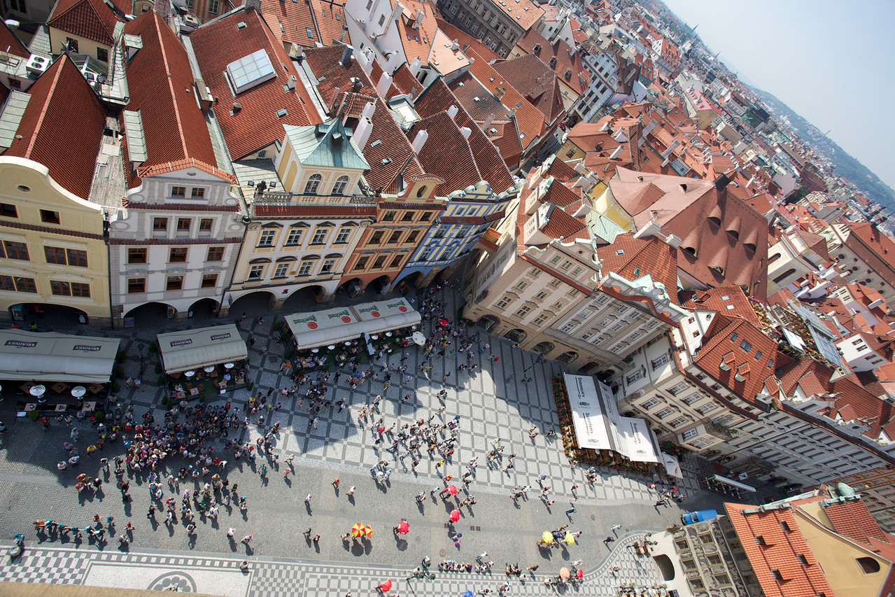 A dizzying angle of the main square in downtown Prague.