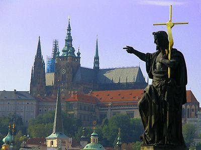 This statue of John the Baptist seems to be directing us to the Prague Castle
