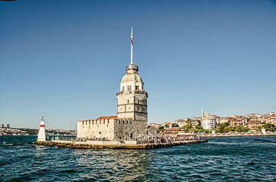The Maiden's Tower overlooking entrance to the Bosphorus