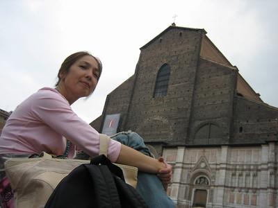 The San Petronio Basilica on Piazza Maggiore