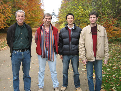 Thomas Kiorboe (lab head), Andre Visser (fluid dynamicist), Tobias and Vincent (postdoc) at Charlottenlund palace, where the Danish Institute for Fisheries Research is located.