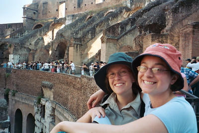 Steph and Lucy, spectators at the Colosseum.