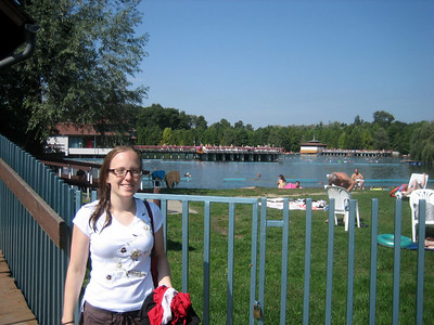 Steph outside the Heviz thermal baths. We spent several hours splashing around there, attracting occasional annoyed looks from the more sedate and elderly patrons.