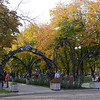 The Forged Figures Park. The center of the park has metal arches over the path. This park signifies the importance of the steel industry to Donetsk and is one of several similar parks in other cities in Europe that have a steel industry.