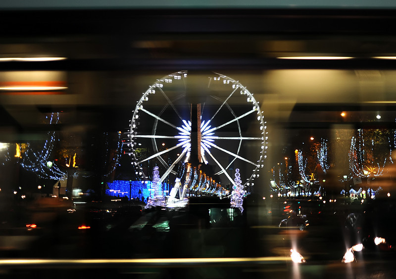 La Grande Roue (Ferris Wheel) in Bus Window<br /> November in Paris - 2010