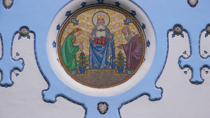 Exterior detail of the blue church.