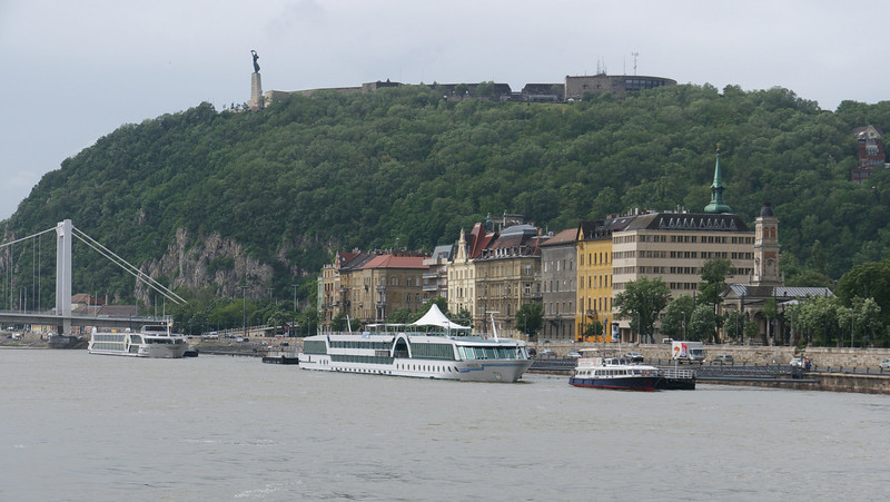 Elizabeth Bridge and the Liberation Monument atop Gellert Hill. Our docking site to the right.
