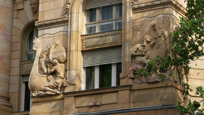 Most of the older buildings in Budapest have a high degree of ornamentation and detail around doors, windows corners etc.