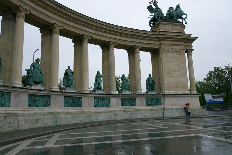 The Millennium Memorial with statues of the leaders of the seven tribes that founded Hungary in the 9th century and other outstanding figures of Hungarian history.