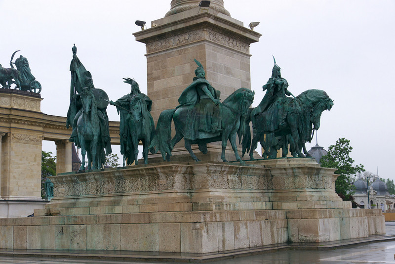 Seven mounted figures representing the Magyar chieftains who led the Hungarian people into the Carpathian basin.