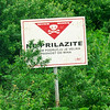 Dangers still remain from the war in the nineties. This sign was in a field by the roadside next to some other fields that had been cleared of mines. There are still a large number of fields in the region that need to be cleared.