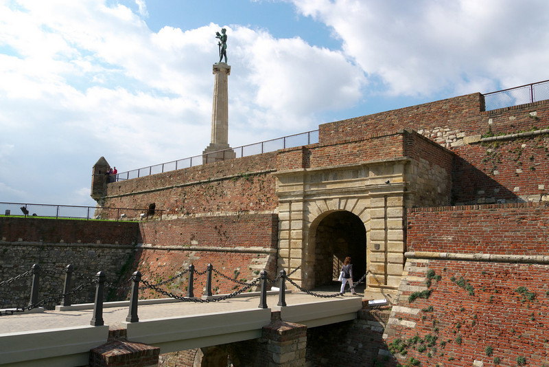 One of the many entrances to the fortress with the Victor Monument in the background.