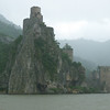 The castle in the rain. The river used to be much lower before the dam (the Iron Gates) was built.