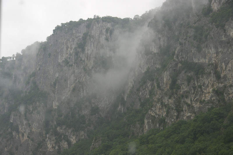 Mist rolling off the side of the gorge.