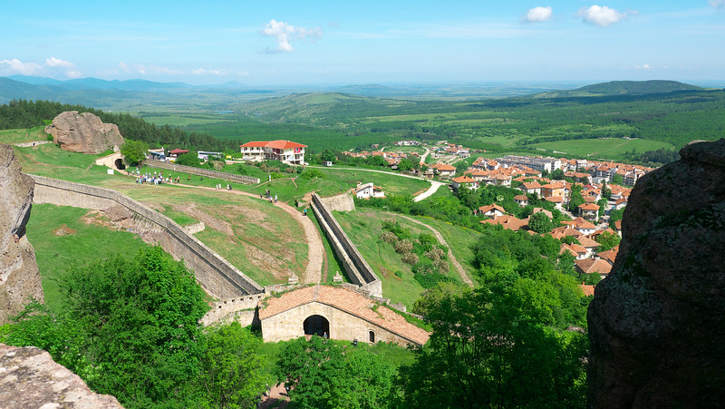 Two of the gates to the fortress with the village below.