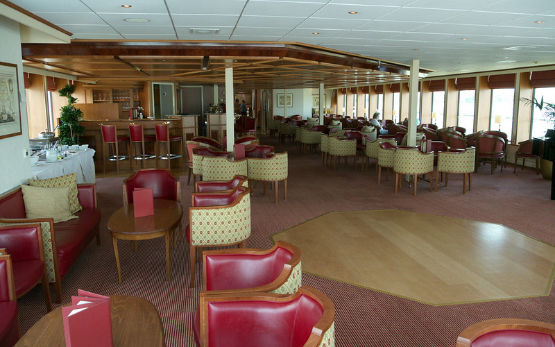 The River Duchess lounge at the front of the ship.