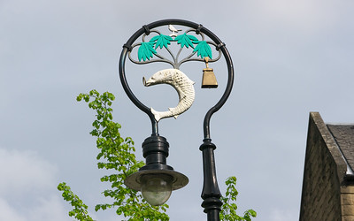 Glasgow symbols on a street lamp