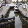 Canal boat making its way through a lock. Lower the resolution if you have difficulties playing at High Def.
