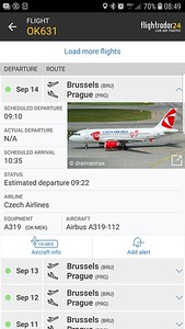 Flight OK631 from Brussels to Prague...