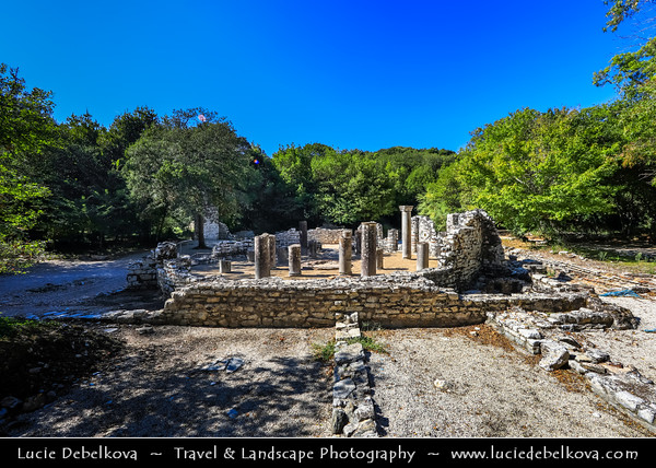 Europe - Albania - Vlorë County - Butrint - Buthrotum - UNESCO World Heritage Site - Ancient Greek Ruined City & archeological site within Butrint National Park - Remains of Circular baptistery with Columns