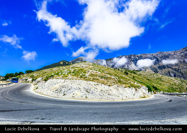 Europe - Albania - Vlorë County - Albanian Riviera - Llogara Pass - High mountain pass within Ceraunian Mountains along Albanian Riviera